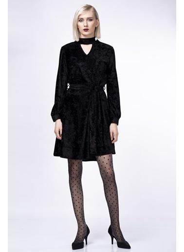 İroni Kadife Elbise Siyah